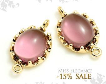 2pcs Amethyst Oval Frame Faceted Glass, Connectors, Links, Gold Plated, Diy Weddings & Diy Jewelry // G07-075X-BG
