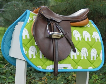 MADE TO ORDER Elephants Saddle Pad Many Colors
