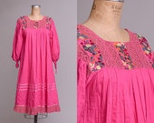 RESERVED 60s Mexican Embroidered Flowers Crochet Trim Tipicano Pink Cotton Oaxacan Babydoll Dress