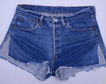 Vintage Levis Redline 501 Single Stitch Dark Indigo Denim Black Bar Cut off Jean Shorts W 32