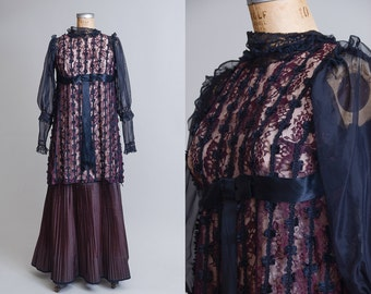 70s Avant Garde Goth Dress Victorian Revival Black Floral Lace High Collar Babydoll Dress