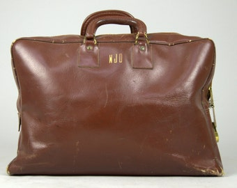 1940s Leather Medical Bag Initialed Cowhide Leather Doctors Bag