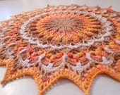 Autumn Halloween colored highly textured handcrochet doily