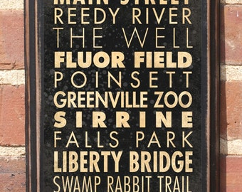 Greenville, SC Points of Interest & Destinations Wall Art Sign Plaque Gift Present Home Decor Vintage Style Heritage Flour Up State Antiqued