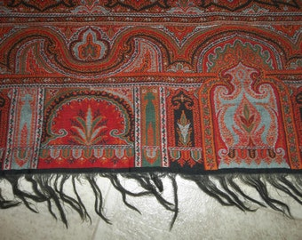 """Traditional Antique Hand Woven Kashmer Paisley Shawl...Very Good Antique Condition...60"""" by 120""""...HUGE, IMPRESSIV Free ShippingE"""