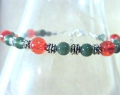 Red & Green Glass Bead Silver Accent Christmas Anklet, Handmade Original Fashion Jewelry, Festive Stylish Trendy Holiday Ladies Teen Gift
