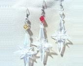 Sparkling Blown Glass Christmas Star & Crystal Dangle Earrings, Handmade Original Fashion Jewelry, Festive Christian Holiday Ladies Gift
