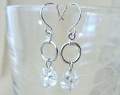 Small Silver Hoop & Clear Flower Dangle Earrings, Handmade Originals