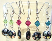 Silver Iridescent Polka Dot Black Disc & Bright Crystal Earrings, Glass Bead Disc Dangle Earrings, Beaded Earrings Handmade Edgy Jewelry