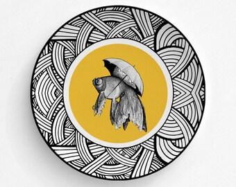 Melamine Plate Goldfish Dancing In The Rain - Goldfish - Plate - Dinnerware - Melamine Dinner Plate - Vintage Fish Print - decorative plate