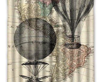 Hot Air Balloon Vintage Map Shower Curtain - Hot Air Balloon Bath Decor - Shabby Chic Shower Curtain - Vintage Map Home Decor - Bathroom