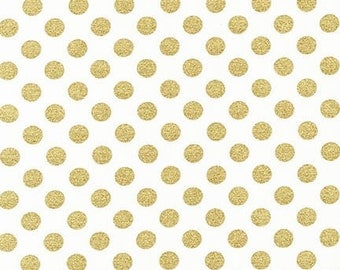 Spot on Blanc (white with larger gold dots) - Robert Kaufman quilting weight fabric by the yard