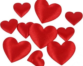 Small Red Satin Hearts - Padded Decoration - 2 Sizes - 70 Pieces - Craft Card Gift