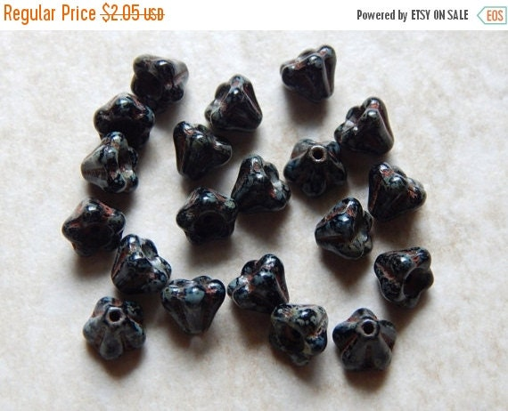 Sale 4X6mm Jet Picasso Baby Bell Flowers - Czech Pressed Glass Beads, 20 PC