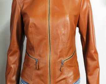 Italian handmade Women soft genuine lambskin leather jacket color natural Tan