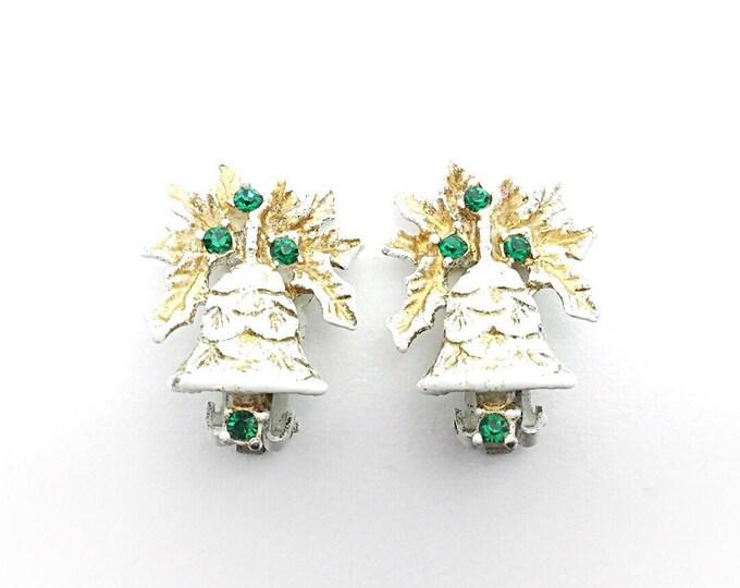 Vintage Dodds Holiday Earrings White enamel vintage earrings. Green rhinestone earrings. Signed holiday earrings, white bell earrings. Bells