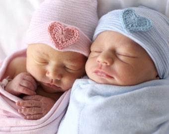 baby hat- newborn hat- twin baby hat- baby hospital hat- newborn hospital hat- baby girl hat- baby boy hat