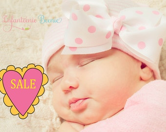Valentine's Day SALE pink and white striped baby girl newborn hospital hat with a polka dot bow for baby girl