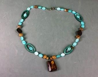 Vintage Turquoise Acrylic Bead Copper Wood Stone Necklace