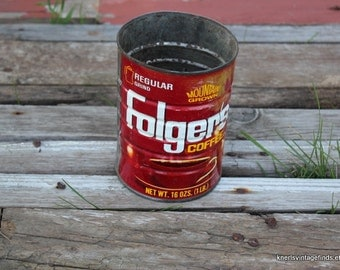 Vintage Folgers Coffee Can Patina Chippy Rust Cute!