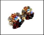 Vintage Amber AB Rivoli Crystal & Rhinestone Earrings, Aurora Borealis, Brown Art Glass, Chunky Mod Earrings, Gift For Her