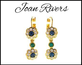 Joan Rivers Rhinestone Earrings, Royal Blue & Green in Gold, Pierced Lever Backs, Royal Blue Earrings, Green Earrings, Gift For Her