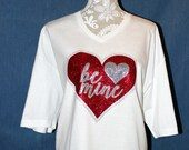 Be Mine Valentines Shirt with Vinyl and Rhinestone Shirt, Glitter vinyl, Be Mine Valentine shirt
