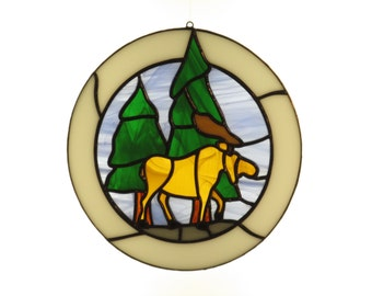 Stained Glass Moose Suncatcher - Price Includes Shipping