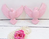 Vintage Birds Wall Decor Syroco Hollywood Regency Decor Upcycled Sweet Pea Pink
