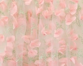 ivory 3D bridal lace fabric, wedding gown fabric with 3D chiffon rosette , by yard