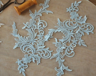 crochet Venice lace applique pair in light blue for wedding lace, bridal veil decor