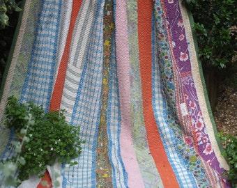 Kantha quilt, light green Kantha, Sari throw, Sari Blanket, Light Green Kantha Blanket,  Kantha Throw, Indian Quilt, Vintage Kantha