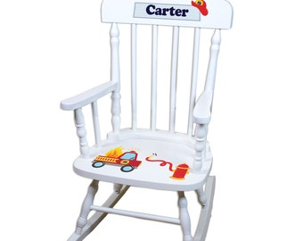 Child's Personalized Rocking Chair Fire Truck Boys Firetruck Childrens White Rocker Engine Toddler Custom Rocking Chairs Large SPIN-whi208