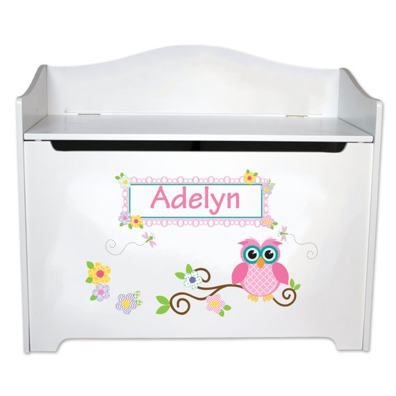 Cool Toy Box For Boys : Personalized owl toy box childrens toybox bench boys by
