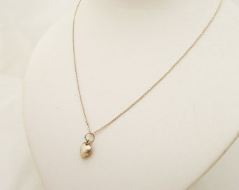 Vintage Sterling Silver Tiny Heart Pendant with Chain, Delicate Sterling Silver Heart Pendant