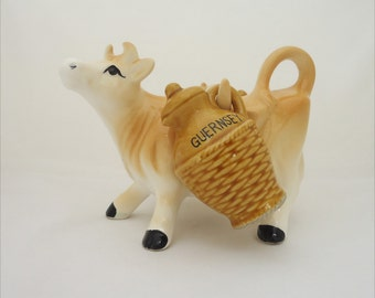 Vintage Guernsey Ceramic Cow, Rare Guernsey Salt and Pepper Shakers, Collectable Guernsey Ceramic