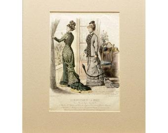 Large Antique French Fashion Print - Le Moniteur De La Mode 1878 - River View - Jules David