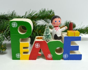 PEACE Christmas Wood Candle Holder by Giftco Taiwan / Vintage Kitschy Christmas / Mini Candle Holder
