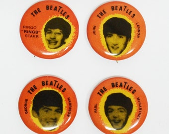 Vintage Beatles 1964 Seltaeb Button Collection....Rare All 4 Beatles ....Beatlemania