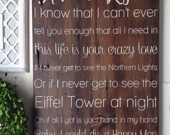 Thomas Rhetts 'Die a happy man' lyrics. Painted on barn wood. Custom with names and date