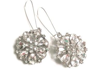 Crystal Starburst Earrings Silver Mega Bling Bridal Prom Bridesmaid Earrings Round Crystal Drop Dangle Earrings