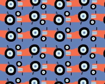 Monaluna Tractors organic cotton fabric- one yard increments red tractors, boy, farm, quilt, country life, apparel, shirt, home