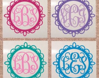 Medallion Circle Monogrammed/Personalized  Decal/RTIC YETI