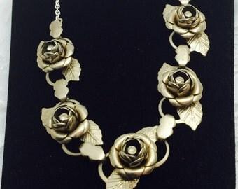 Roses Necklace, Vintage Bridal, Silver Tone, Clear Rhinestones, HALF OFF Sale, Item No. B574