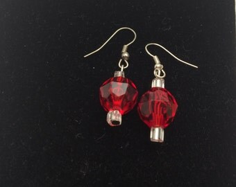 Red Bead Earrings, Silver tone, Clear Beads, Hand Made, HALF OFF Sale, Item No. B624