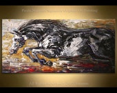 Large Wall Art Stallion Painting animal Oil Acrylic on Canvas Large Gift  Modern Home Decor Wall Art Painting running horse