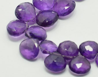 Dark Purple Amethyst Heart Briolettes, Amethyst Briolette Faceted Flat Drops, 9x9mm-10x10mm, 6 Beads, Destash Gemstones #178