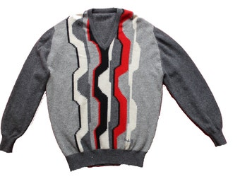 Vintage Sweater- Pringle Wool Jumper -Retro Sweater English Designer- grey and red patterned v neck- mens slouchy - Large- FREE UK Postage
