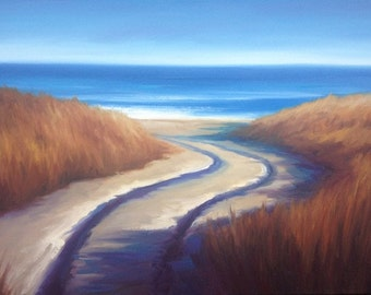 Original Framed Oil on Canvas Painting, traditional landscape, coastal art, fine art, realism.