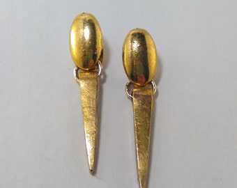 Gold Oval and Spike Drop Earrings
